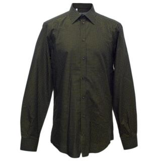 Dolce and Gabbana Men's Black Shirt with Yellow Dots