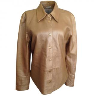 MCM light gold leather blazer jacket
