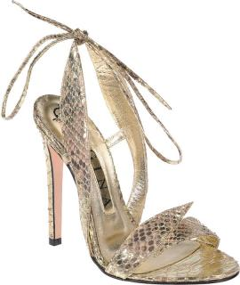 Gina Open Toe Lace Up Arabesque Python Heels