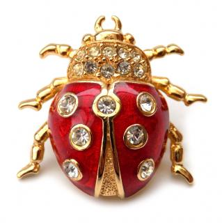 Christian Dior Vintage Gold tone Red Enamel Ladybird Brooch
