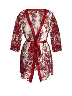 Coco De Mer Lace and Silk Alyssa Robe in Scarlet Red