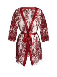 Coco De Mer Lace and Silk Alyssa Robe in Scarlet Red