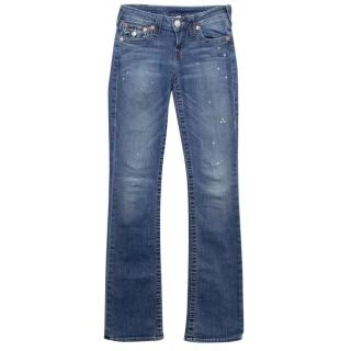 True Religion Blue Distressed Flared Jeans