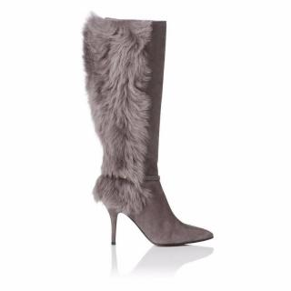 L.K. Bennett Black Ribbon 'Joyce' Grey Suede Shearling Knee High Boots