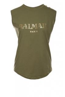 Balmain Button-embellished printed cotton-jersey top