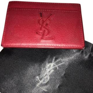 Yves Saint Laurent YSL red leather card holder