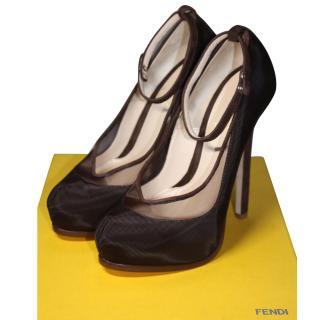 Fendi Dark Brown Mesh Heels It 36.5