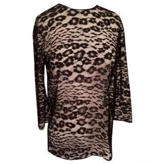 Tom Ford black Chantilly lace leopard print top