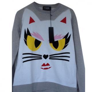 Karl Lagerfeld Grey Choupette Cat Sweatshirt