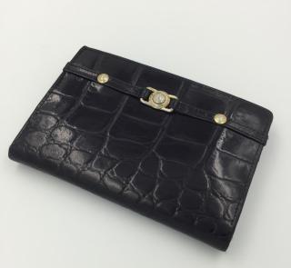 Versace Black Leather Mock Croc Wallet Purse