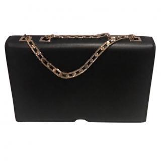 Victoria Beckham metal chain black leather bag