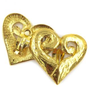 Yves Saint Laurent Rare YSL Gold Tone Large Heart Clip On Earrings