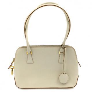 Salvatore Ferragamo Light Cream Leather Top Handle Bag