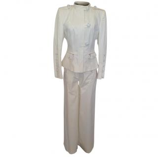 Gaetano Navarra safari style off white pants suit