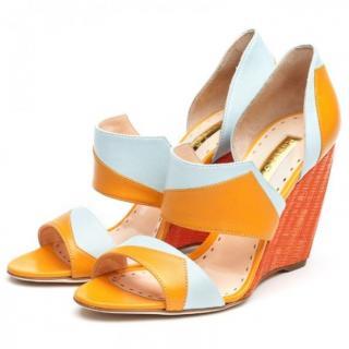 Rupert Sanderson Atanga Orange/Blue Wedge Heel Sandals
