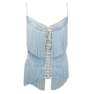 Dolce & Gabbana Light Blue Silk Corseted Top with Fringing
