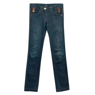Dolce & Gabbana Blue Straight Leg Jeans with Leather Details