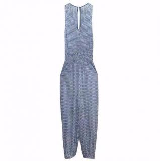 Missoni Mare Blue and White Knitted Jumpsuit