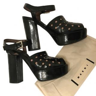 Marni Black Patent Platform Sandals