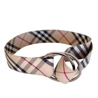 Burberry canvas check buckle belt