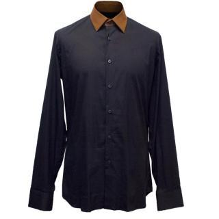 Prada Men's Navy Shirt with a Brown Collar