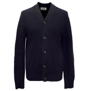 Acne Men's Navy Cable Knitted Cardigan