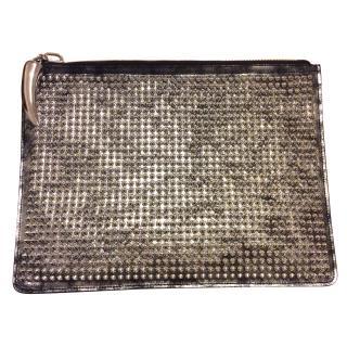 Giuseppe Zanotti Metallic Stud Brush Leather Pouch
