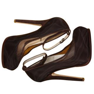 Fendi Dark Brown Heels It 39.5