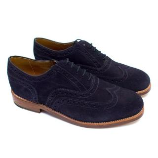 Grenson Men's Navy Suede Brogues with Stitching