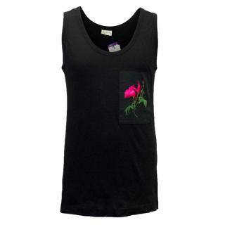 Dries van Noten Men's Black Cotton Vest Top with a Flower