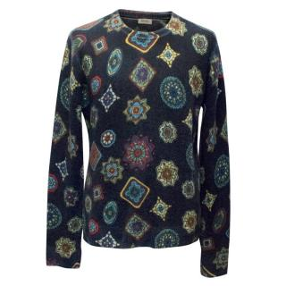 Kenzo Men's Navy Wool Jumper with Colourful Pattern