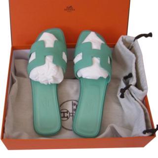 Hermes Oran Sandals in Malachite