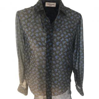 Saint Laurent black floral silk blouse