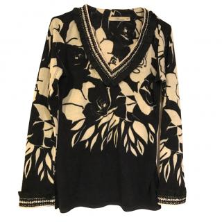 Blumarine Black and Cream Pullover