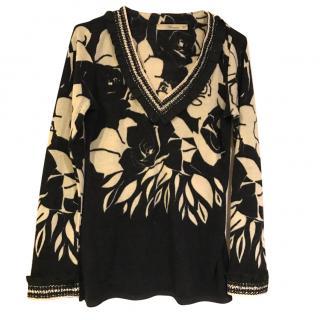Blumarine Black and Cream Pullover