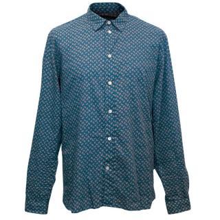 Paul Smith Men's Blue Patterned Shirt