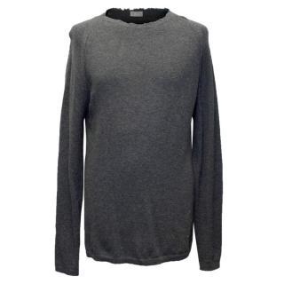 Dior Men's Grey Wool Distressed Jumper