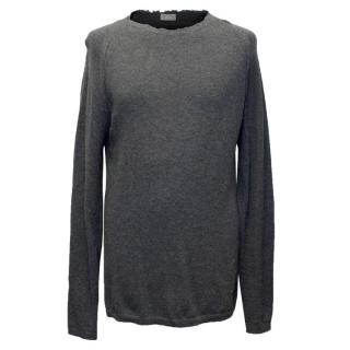 Dior Men's Grey Wool Distressed Jumper