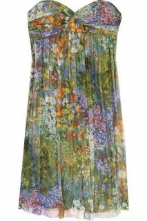 Maje Silk Printed Strapless Dress