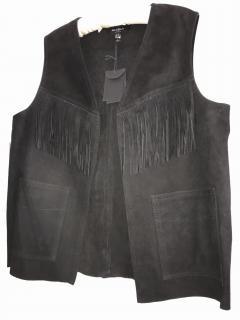 Muubaa Black Suede Waistcoat