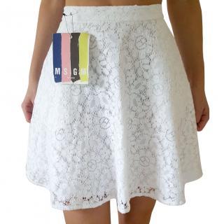 MSGM White Broderie Anglais Skirt