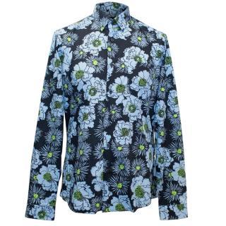 Prada Men's Floral Print Long Sleeved Shirt