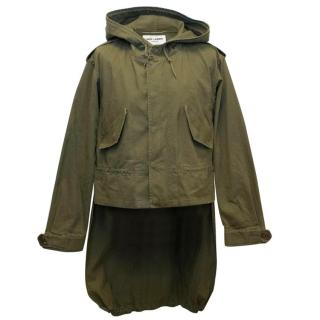 Saint Laurent Men's Khaki Green Lightweight Parka