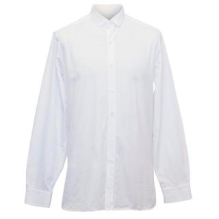 Lanvin Men's White Shirt with a Narrow Collar and Step Hem