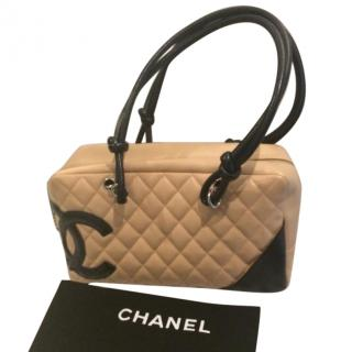 Chanel Beige And Black Quilted Cambon Ligne Bowler Bag