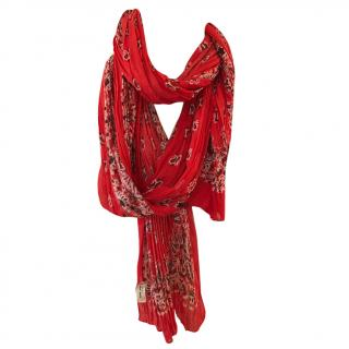 Saint Laurent Red Silk and Cashmere Scarf