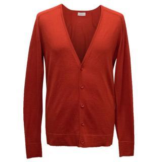Balenciaga Men's Red Cardigan