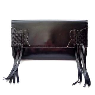 Jean Paul Gaultier Vintage Black Leather Fringe Bag