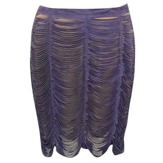 Roccobarroco Purple Suede and Mesh Fringe Skirt