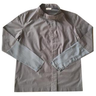 Dries Van Noten dark grey cotton shirt with silk satin cuffs